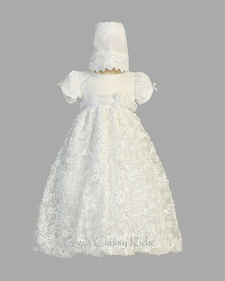 New Baby Girls White Tulle Sequins Dress Gown Christening Baptism Bonnet Amber