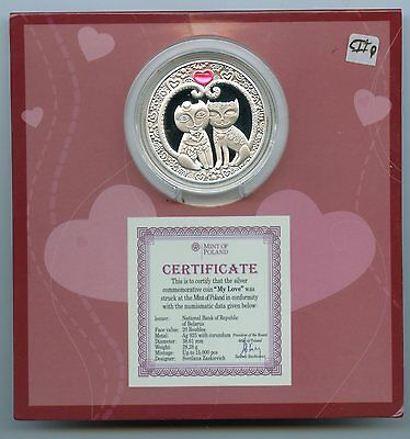 Belarus ~ 2011 ~ 20 Rouble ~ Silver ~ My Love ~ Proof ~ Coa