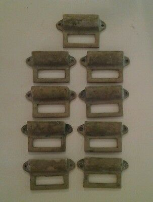 9 Cast Bronze Drawer Pulls w/ Index Windows Victorian Old Furniture Steampunk