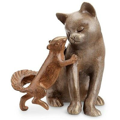 Stealing A Kiss Cat Squirrel Friend Garden Sculpture Kitty Metal Outdoor  Statue