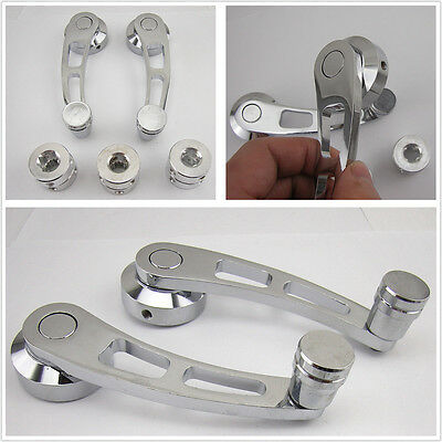 2Pcs Chrome Aluminum Universal Fit Car SUV Window/Door/Winder Crank Handle Knobs