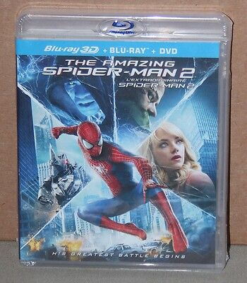 The Amazing Spider-Man 2 3D (Blu-ray/DVD, 2014, 3-Disc Set) Brand New, Sealed