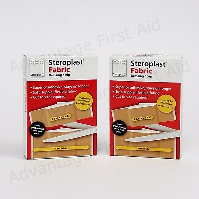Fabric Dressing Strip On a Roll Cut to Size Plasters in Box. 6cm x 75cm: Qty 2