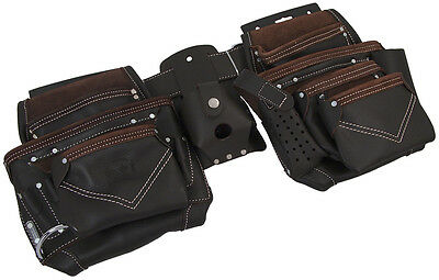 Oil Tan Leather Carpenter Tool Belt with Adjustable Pouches