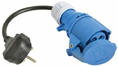 UK Mains Plug to Ceeform Socket for Caravan Motorhome Power Camping Electric 010