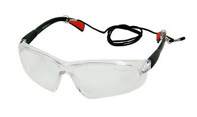 Smoke Lens Safety Glasses Eye Protection Specs with Lanyard