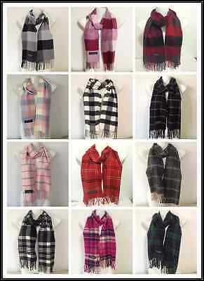100% Cashmere Scarf Made In Scotland Plaid Checked Design Super Soft Unisex