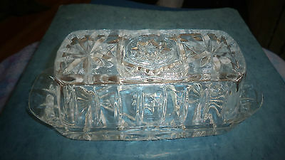 Vintage Glass Butter Dish Rectangle Pressed Glass Complete Original VGC