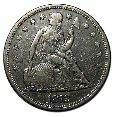 1872 $1 Seated Dollar Silver Coin Lot# MZ 1464