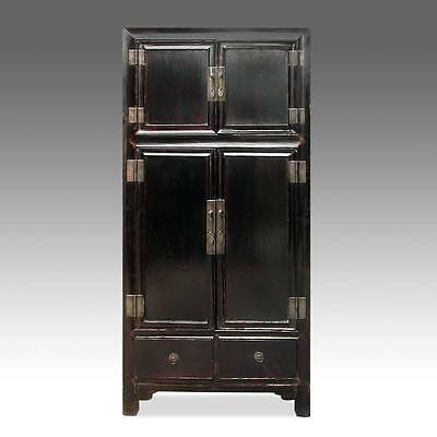 Fine Antique Chinese Shanxi Lacquered Elm Wood Cabinet Wardrobe Early 20Th C