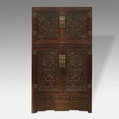 Fine Antique Chinese Hebei Poplar Wood Compound Cabinet With Trunk Mid-19Th C