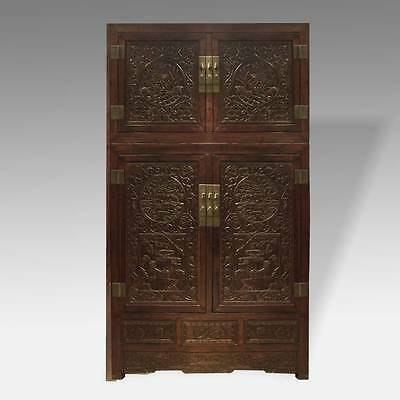 Fine Antique Chinese Hebei Rose Wood Compound Cabinet Dragon Motif Mid-19Th C