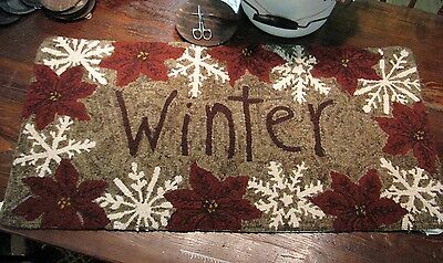 "Primitive Hooked Rug Pattern On Monks ""Winter"""
