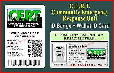 CERT ID Badge + Wallet ID Card Set  (COMMUNITY EMERGENCY RESPONSE TEAM) CUSTOM
