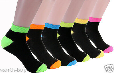 New Lot 6-12 Pairs Ankle Womens Socks Size 9-11 Solid Black Multi-Color Cotton