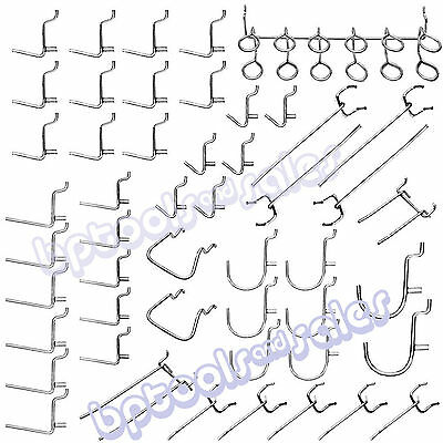 "50pc Universal Pegboard Organizer Hook Assortment Set 1/8"" x 1"" Home Shop Garage"