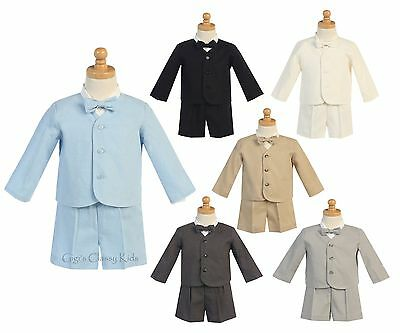 New Boys Eton Suit Set Shorts Rayon Linen Wedding Easter Birthday Party G828