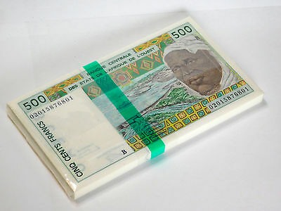 BENIN - WEST AFRICAN STATES 500 FRANC 2002 P 210B UNC (BUNDLE of 100 NOTES)