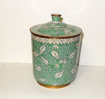 Rare Old Chinese Bronze Cloisonne Green Enamel Humidor Canister Jar Box