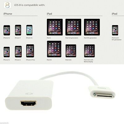Dock Connector to HDMI Adapter Cable For Apple iPad2 3 4 iPhone3 4 4S iPod  FE