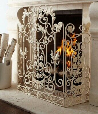 French Country Shabby Floral Chic Scroll Antique Finish Cottage Fireplace Screen