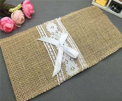 NEW Natural Jute Lace Pockets Rustic Wedding Tableware Packaging Fork & Knife MD