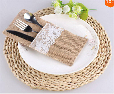 NEW Natural Jute Lace Pockets Rustic Wedding Tableware Packaging Fork & Knife VC