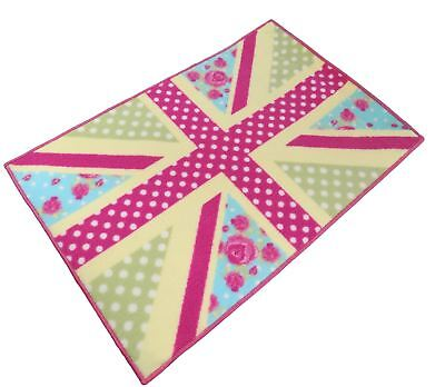 Union Jack Shabby Floral Chic Patchwork Pink Anti Slip Bedroom Rug Mat 60 X 90Cm