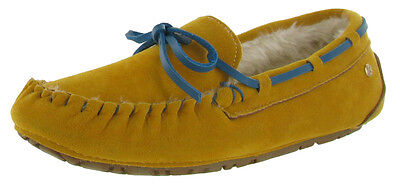 Groove Womens Bohemian Western Faux Sheepskin Suede Moccasins Shoes Gold Size 9