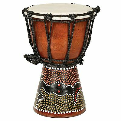 """9"""" West African Mali Goatskin Small Jembe Djembe Drum with Painted Design"""