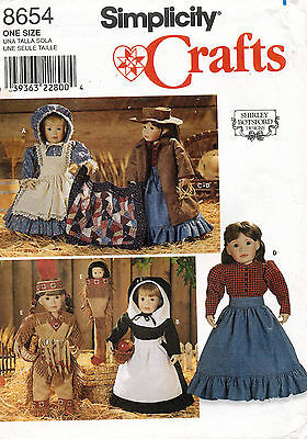 """Simplicity  Colonial Prairie Doll Clothes Pattern 8654  18"""" UNCUT"""