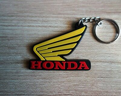 HONDA wing Keychain Keyring Yellow Rubber Motorcycle Bike Car Collectible Gift