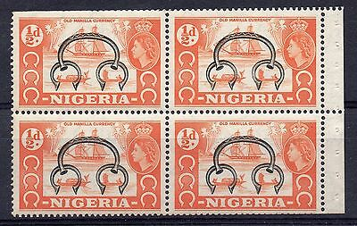 """NIGERIA = 1953 1/2d """"Old Currency"""" Pictorial SG 69. MNH Booklet Pane of 4."""