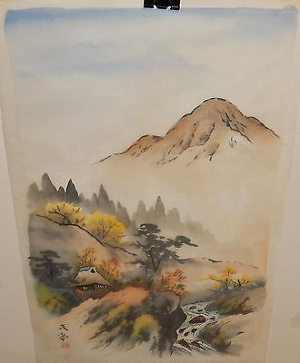 Japanese Original Watercolor On Silk River Fall Landscape Painting Signed