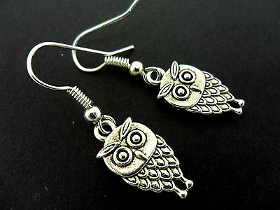 A Pair Of  Cute Little Tibetan Silver Dangly Owl Earrings. New.