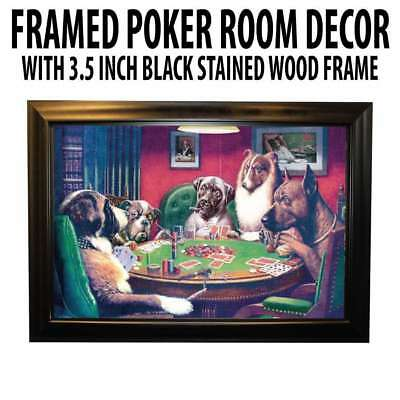 Poker Room art decor Framed Art  : A Bold Bluff by artist Coolidge (Dogs Playing