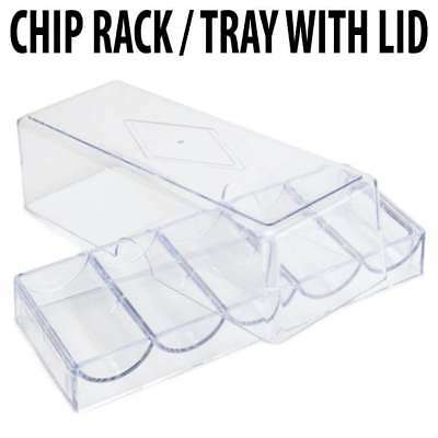 100 capacity : Casino Poker Chip Acrylic Chip Tray W/Lid : Holds 100 chips