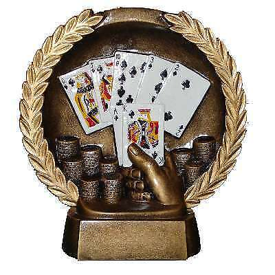 Poker Tournament Trophy Round Plate Royal Flush