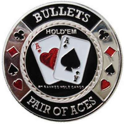 Poker Protector Card Guard Cover in Capsule :  Bullets Silver