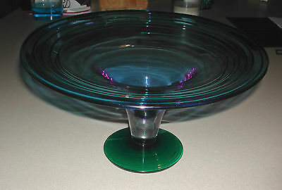 Vintage Blenko Handcraft Signed Footed Compote Centerpiece - Blown Glass