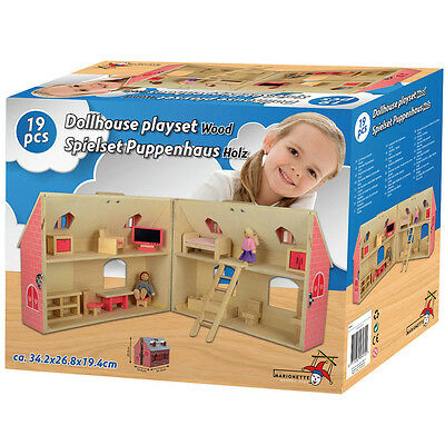 Casa Di Bambole In Legno Con Serratura Mobili Accessori DollHouse Playset