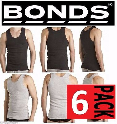 Bonds 6 Pack Chesty Cotton Singlets Black / Grey Underwear Mens Singlet Tee