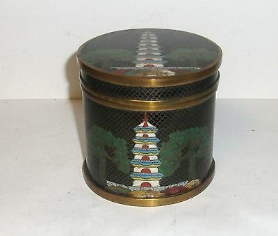 Rare Chinese Temple Cloisonne Enamel Humidor Canister Jar Box
