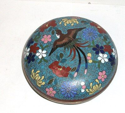 Meiji 1910 Period Blue Cloisonne Enamel Floral Bird Jar Large Box