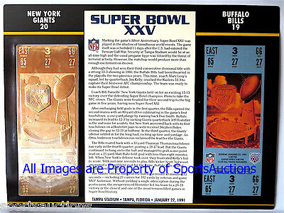 NEW YORK GIANTS vs BILLS Willabee & Ward 22KT GOLD SUPER BOWL 25 TICKET ~ SB XXV