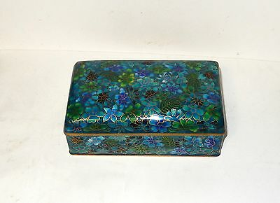 Chinese Cloisonne Royal Blue And Green Enamel Floral Large Trunk Box