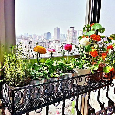 Flower Pot Rack Holder Balcony Hanging Stand Plant Iron Display Shelf Home Decor