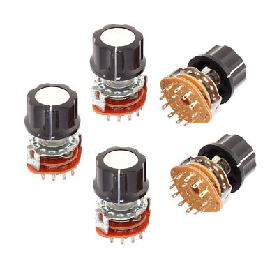 5pcs 2 Pole 6 Position Channel Selector Rotary Switch Potentiometer