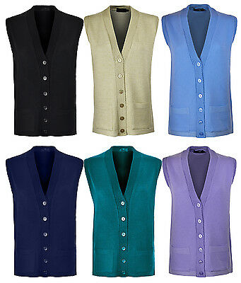 Womens Sleeve Less Knitted Cardigans Waistcoat V Neck Button Cardigan