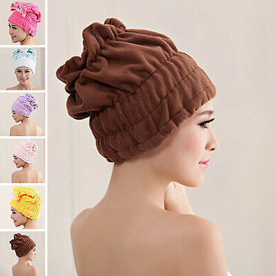 Women Hair Drying Towel Button Wrap Hat Shower Headband Turban Comfy Bathing Cap